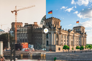 Two of the tower cranes were directly involved in the reconstruction of the German Reichstag.