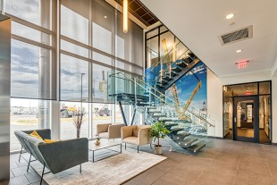 The lobby of the new Liebherr USA, Co. headquarters