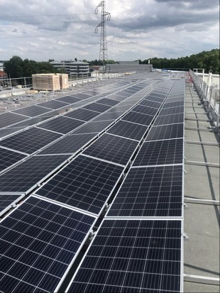 Solar panels on one of the roofs of Liebherr-Aerospace Toulouse's facilities