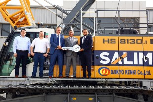 From left to right: Mr. Darko Birtic (Spare Parts Manager Liebherr), Mr. Toni Manss (Service Manager Liebherr), Mr. Knut Brandenburg (General Manager Liebherr), Mr. Sajil Salim (Director Salim Equipment Rental LLC), Mr. Samir Hussein (Sales Manager Liebherr).