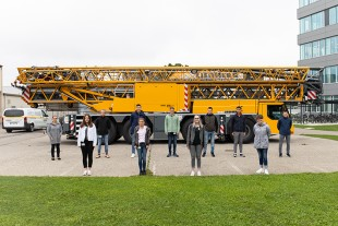 The numerous apprentices at Liebherr start their professional. Safety distance included.