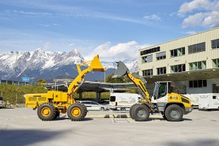 Six decades of wheel loader history at a glance: The almost 60-year-old LSL 1500 with a Liebherr stereoloader L 514 of the latest generation.