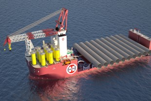 Artist's rendition of Alfa Lift carrying 10 XXL monopiles and transition pieces. For illustration purposes only, Image credit: Ulstein.