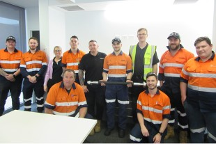 The hose production team at Liebherr-Australia with the 100,000th hose