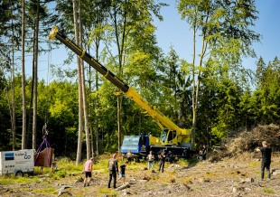 ESB Kranverleih's LTM 1050-3.1 hoisted a valuable piano into a cleared section of forest.