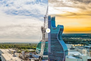 A Liebherr crawler crane also helped create the Guitar Hotel's steel structure in Hollywood, FL