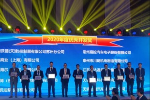 Hangqi Yu from Liebherr-Component Technologies AG (fourth on the left) along with other winners of the Excellent Development Award 2020, as well as the award host, Chen Yong, the Vice-General Manager of SDEC (first on the right).