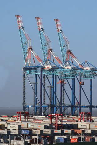 Three Liebherr ship to shore container cranes at NTB.