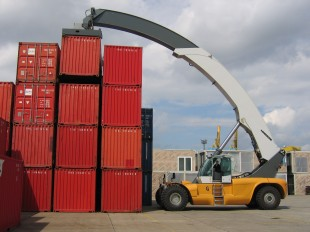 Liebherr reachstackers handling containers in Hamburg (Germany).